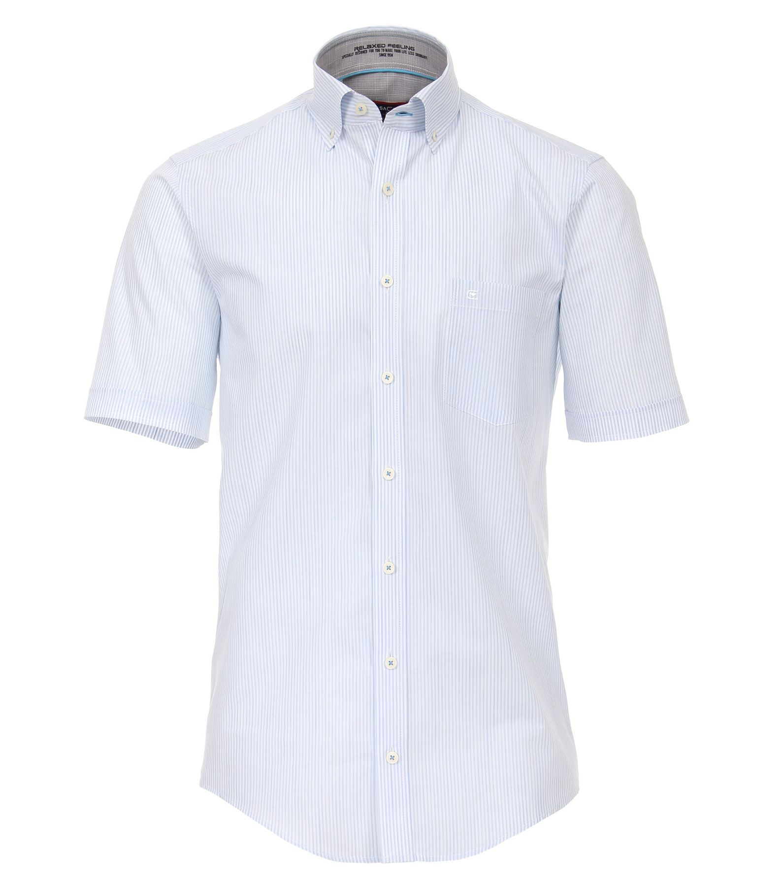 Casa Moda - Casual Fit - Blau gestreiftes Herren Halbarm Hemd mit Button Down Kragen (982947500A)