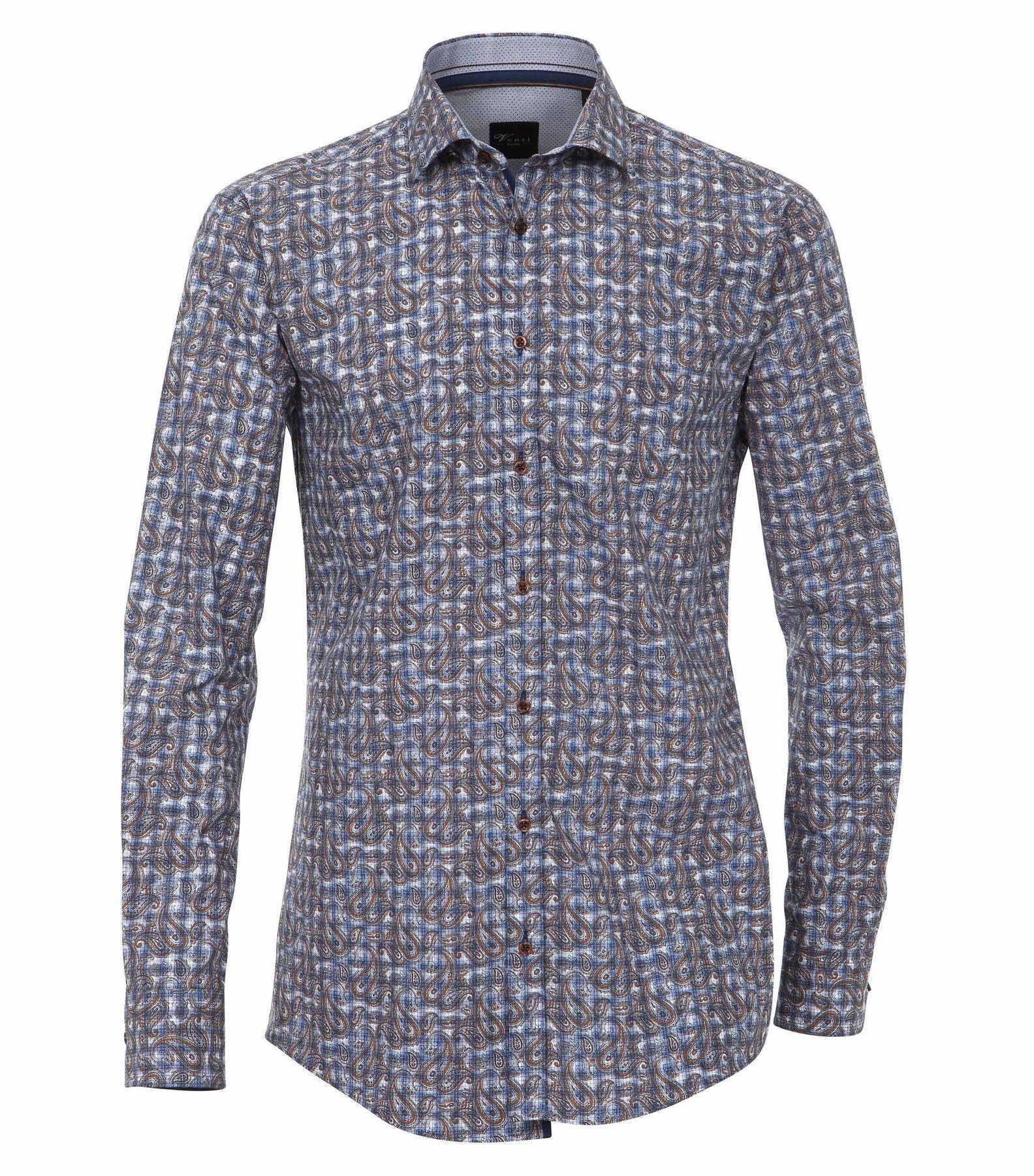 Venti - Slim Fit - Herren Langarm Hemd aus 100% Baumwolle mit Kent Kragen (162544200 A) – Bild 1