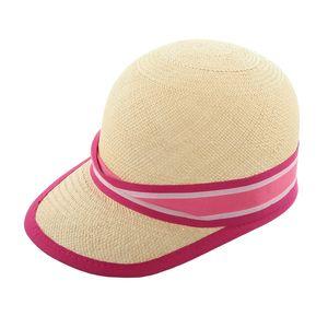 LEMBERT Panama Strohcap, rosa Hutband