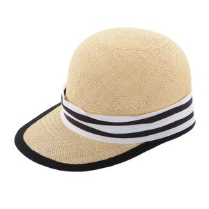 LEMBERT Panama Strohcap, schwarz-weisses Hutband