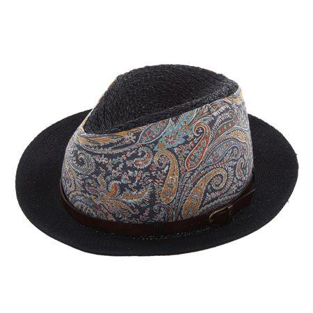 GREVI Damen-Strohhut mit breitem Stoffband und Hutband aus Leder – Bild 1