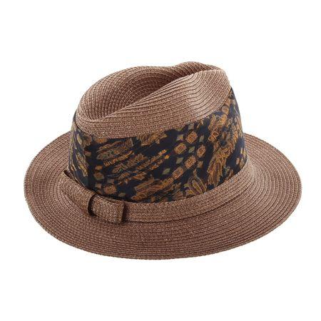 Lembert Damen-Strohhut mit breitem Stoffband – Bild 2