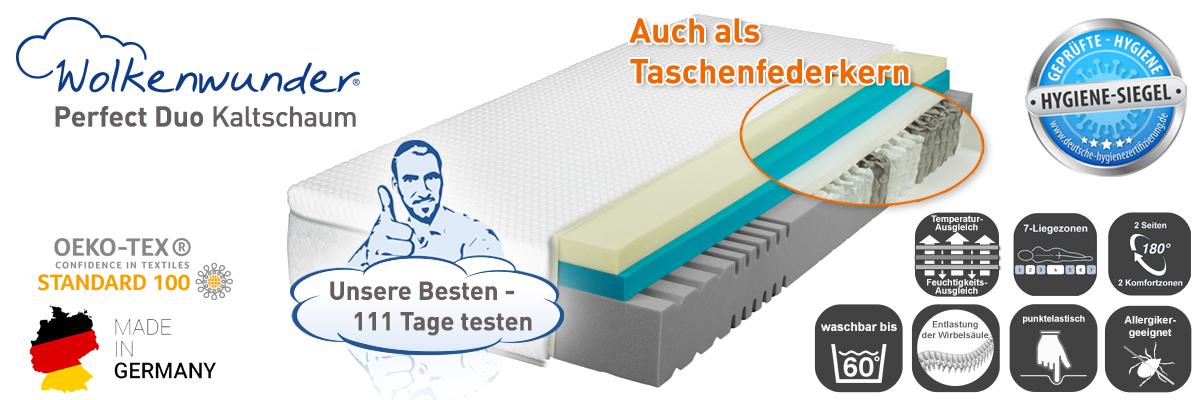 Wolkenwunder Perfect DUO KS Kaltschaummatratze inkl. integriertem Topper
