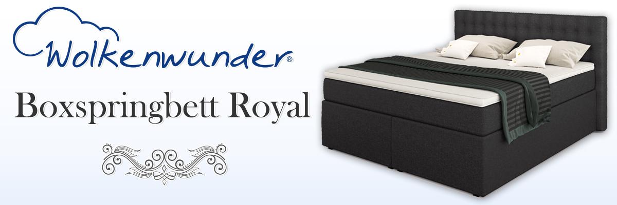 Wolkenwunder Royal Boxspringbett 180x200 cm 7-Zonen TFK Härtegrad H3 Farbe anthrazit Visco-Topper