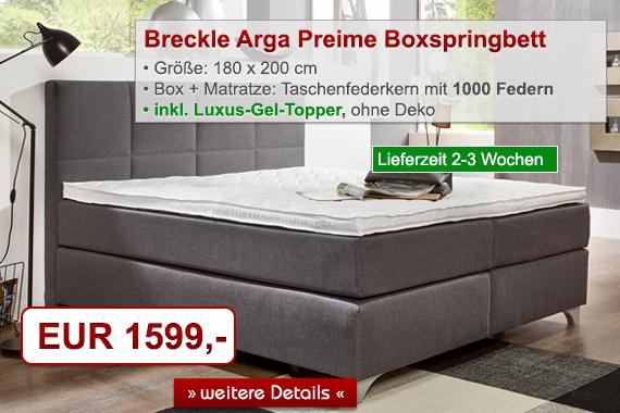 Breckle Boxspringbett Arga Preime inkl. Taschenfederkern-Matratzen - Topper, Größen und Kissenset wählbar