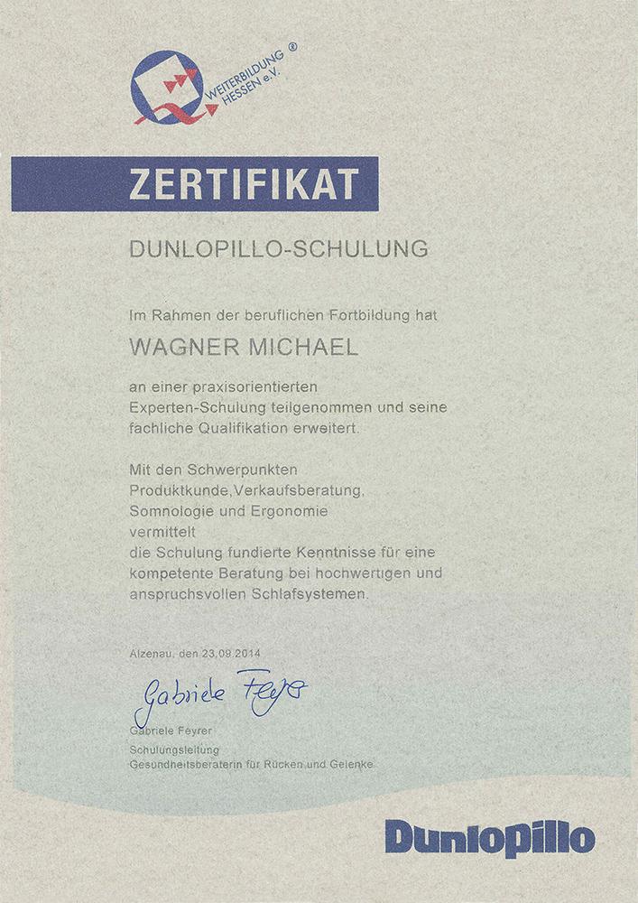 Dunlopillo Zertifikat Michael Wagner