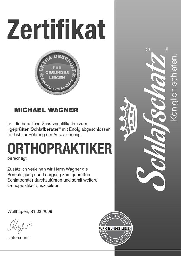 Orthopraktiker Zertifikat Michael Wagner