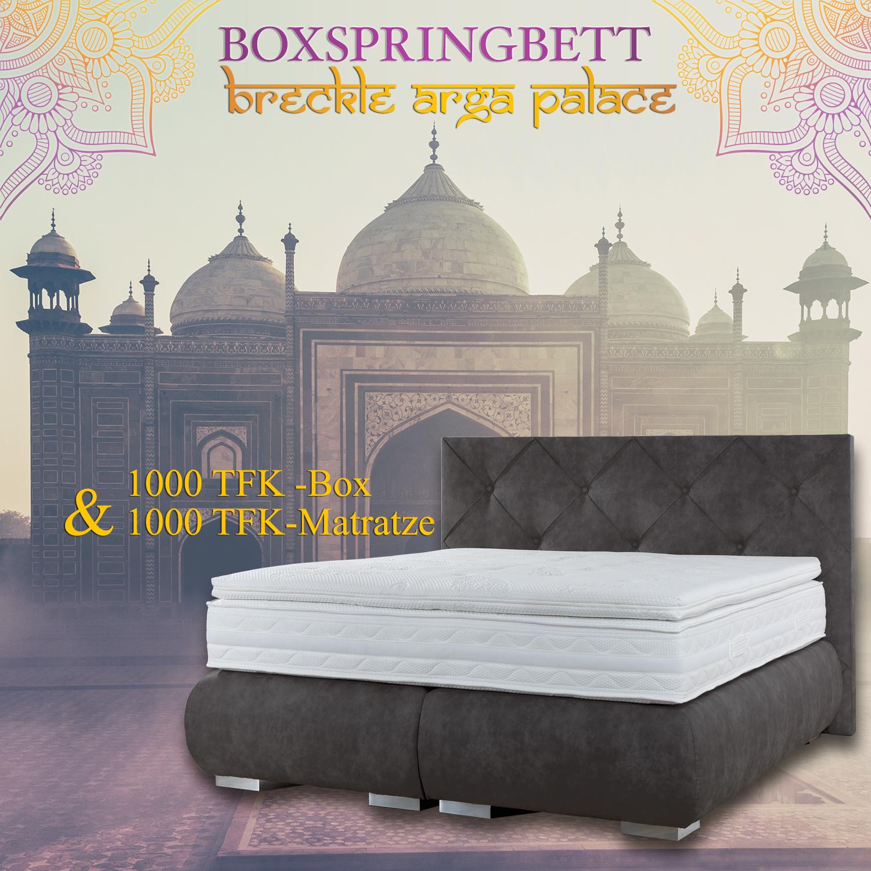 breckle boxspringbett arga palace 200x210 cm inkl gel topper platin premium. Black Bedroom Furniture Sets. Home Design Ideas