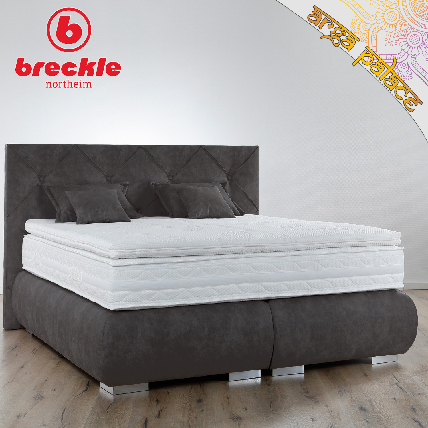 breckle boxspringbett arga palace 120x200 cm inkl gel topper platin premium kissenset. Black Bedroom Furniture Sets. Home Design Ideas