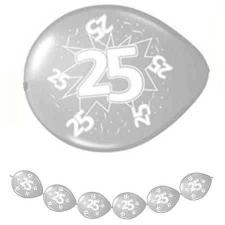 8 Verbindungsballons Zahl 25 silber