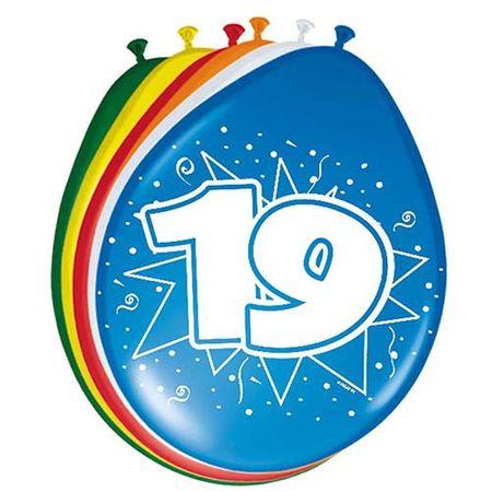 8 Luftballons Zahl 19 30cm