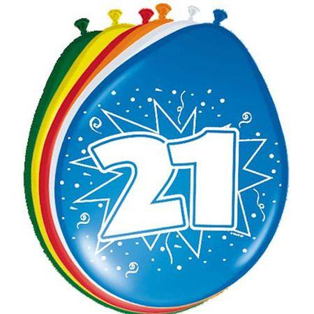8 Luftballons Zahl 21 30cm