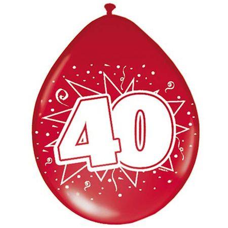 8 Luftballon Zahl 40 30cm rot metallic