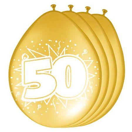 8 Luftballon Zahl 50 30cm gold