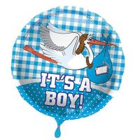 Folienballon Storch It's a Boy 45 cm