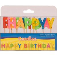 Happy Birthday Set bunte Kerzen 6cm