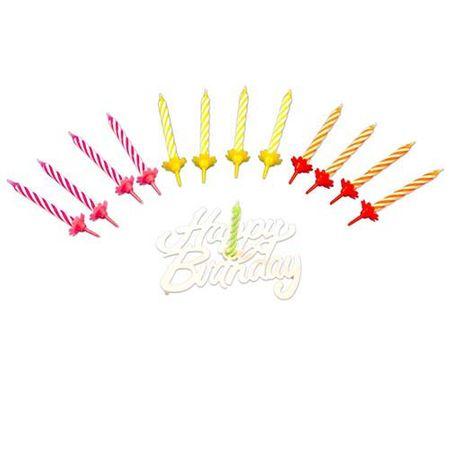 24er Set bunte Kerzen 6cm mit Happy Birthday