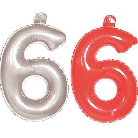 Aufblasbare Zahl 6 Geburtstag 35cm