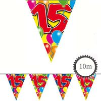 Wimpelkette Ballons 15 Geburtstag 10m