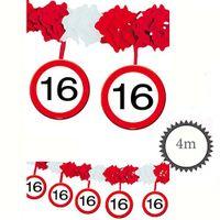 Girlande Verkehrsschild 16 Geburtstag 4m