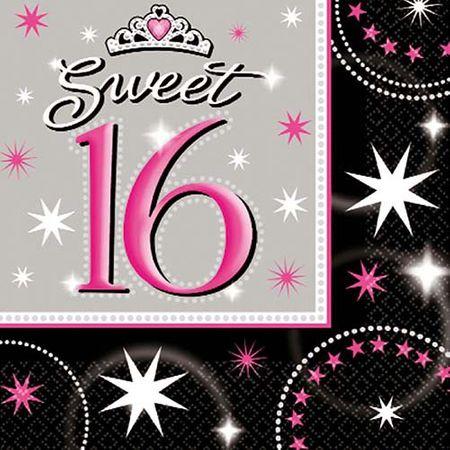 Serviette Sweet 16 Glitzer 16 Stk