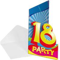 Einladungskarte Swirl 18 Geburtstag 6 Stk.