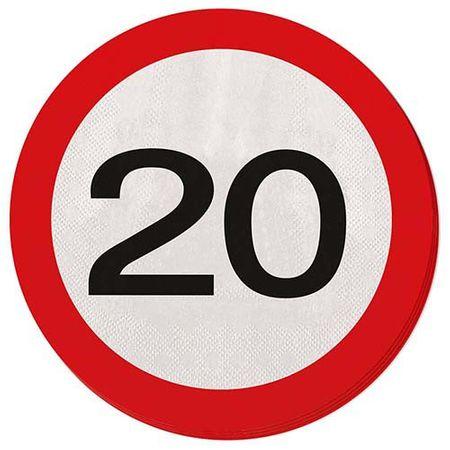 Servietten Verkehrsschild 20 Geburtstag 20 Stk.
