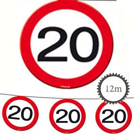 Wimpelkette Verkehrsschild 20 Geburtstag 12m