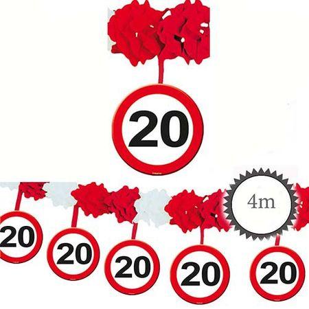 Girlande Verkehrsschild 20 Geburtstag 4m