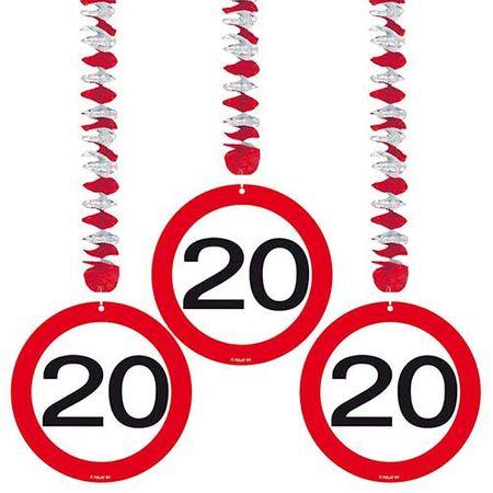 Hängespirale Verkehrsschild 20 Geburtstag 3 Stk.