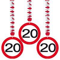 Hängespirale Verkehrsschild 20 Geburtstag 3 Stk. Bild 2