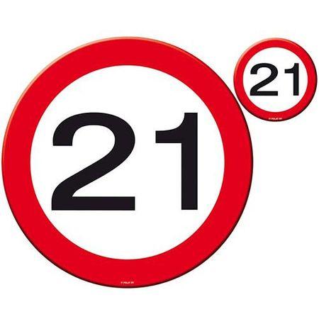 Tisch-Set Verkehrsschild 21 Geburtstag 8 teilig