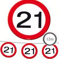 Wimpelkette Verkehrsschild 21 Geburtstag 12m