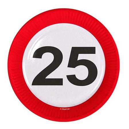 Teller Verkehrsschild 25 Geburtstag 8 Stk.