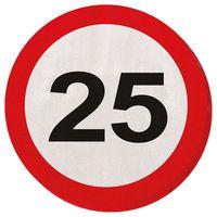 Servietten Verkehrsschild 25 Geburtstag 20 Stk.