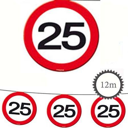 Wimpelkette Verkehrsschild 25 Geburtstag 12m