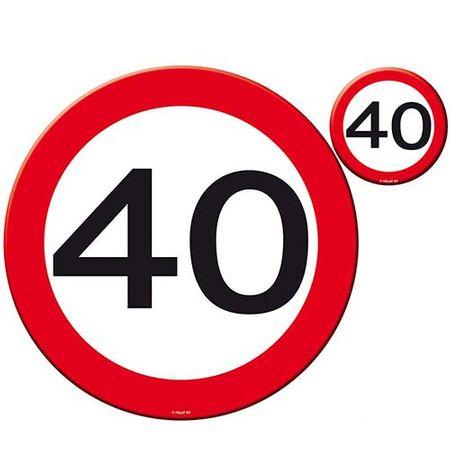 Tisch-Set Verkehrsschild 40 Geburtstag 8 teilig