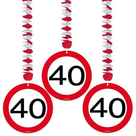 Hängespirale Verkehrsschild 40 Geburtstag 3 Stk.