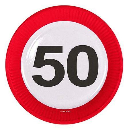 Teller Verkehrsschild 50 Geburtstag 8 Stk.