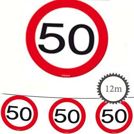Wimpelkette Verkehrsschild 50 Geburtstag 12m