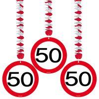 Hängespirale Verkehrsschild 50 Geburtstag 3 Stk.