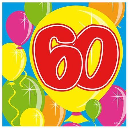 Servietten Ballons 60 Geburtstag 20 Stk.