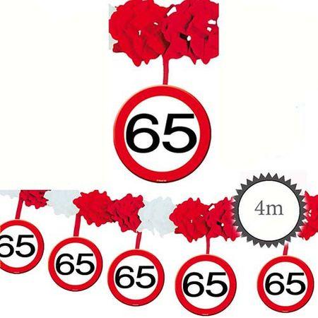 Girlande Verkehrsschild 65 Geburtstag 4m