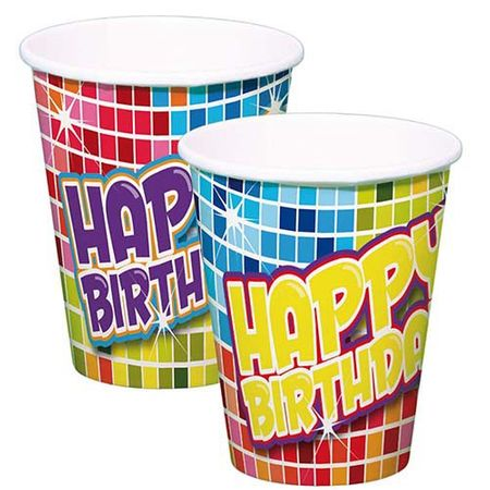 Becher Happy Birthday Blocks 6 Stk.
