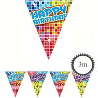 Mini Wimpelkette Happy Birthday Blocks 3m