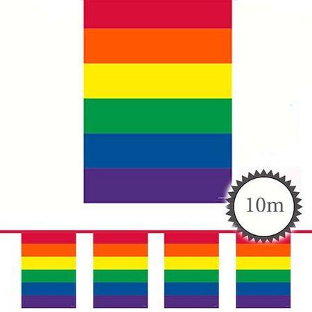 Wimpelkette Rechteck Regenbogenfarben 10m