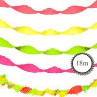 Krepp Girlande verschiedene Neon Farben 18m