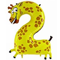 Folienballon Zahl 2 Giraffe 100cm