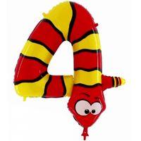 Folienballon Zahl 4 Schlange 100cm