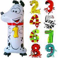 Folienballon Zahl 1 bis 9 Tiermotive 100cm